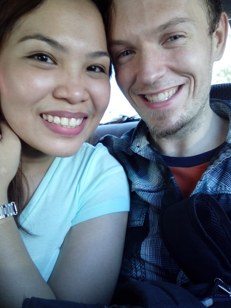 One of our first pictures together. I think it had been close to 50 hours since I had bathed even without factoring in the time difference.