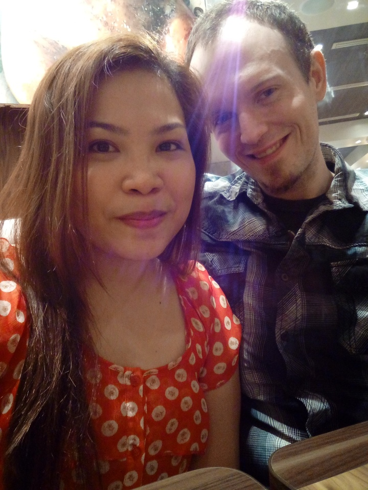 This isn't right after our engagement, but it is at the same restaurant: Kenny Rogers Roasters. We're so romantic.
