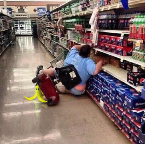 This is what we all hope to see whenever a fat person on a scooter passes by us at the grocery store.