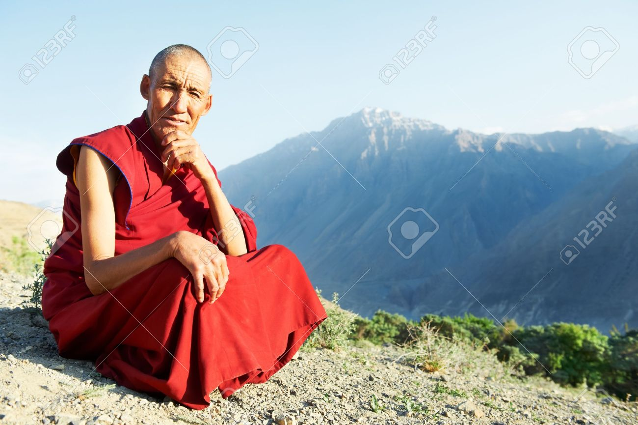 A monk pooping.