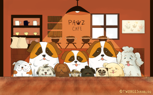 dogs, cafe, coffee, cute, hipster, minimalist, graphic, saint bernard, pug, doggy, girls, funny, humor