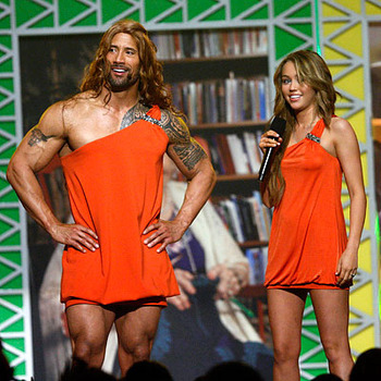 the rock dressed as a woman