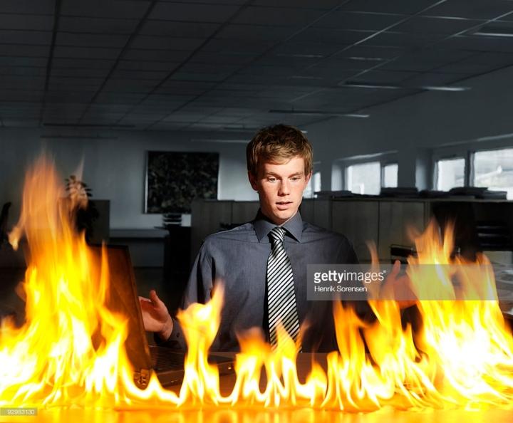 desk on fire
