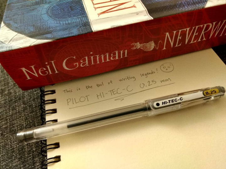 pilot hi-tec 0.25mm fine-tipped pens sharp pens fine lines calligraphy writing japan neverwhere book neil gaiman